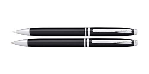Cross Avitar Black Lacquer Ballpoint Pen and Pencil Set With Chrome Plated Appointments ~ 0.7mm