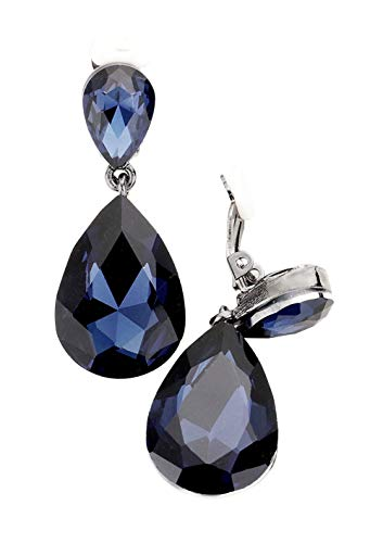 "(Chunky Dark Blue Rhinestone Teardrop Dangle Clip Earrings in Hematite-Tone 1 3/4"" Long)"