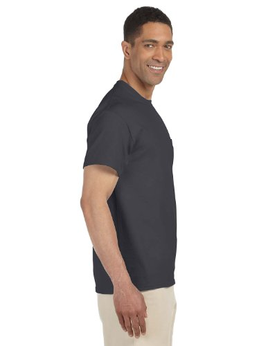 Gildan Men's 7/8 inch Collar Double Needle Pocket Knit T-Shirt, Charcoal, Large - Adult Ultra Cotton Pocket