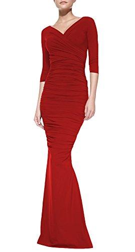 DAPENE® Women V-Neck 3/4 Sleeve Floor Length Red Formal Dress Custom Size