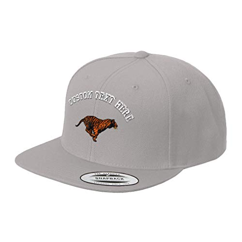 - Custom Text Embroidered Running Tiger Unisex Adult Snaps Acrylic Structured Flat Visor Snapback Hat Cap - Silver, One Size