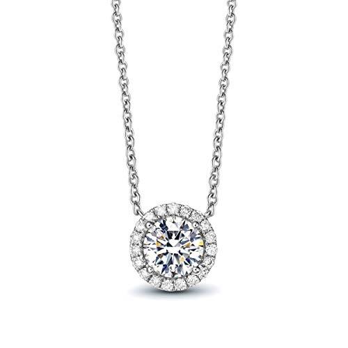 - AllenCOCO White Gold Plated 1 Carat Brilliant Cut Simulated Diamond CZ Round Halo Pendant Necklace