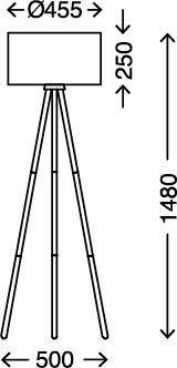 Pantalla de Tela en Blanco DxH Briloner Leuchten pie Interruptor de Cable Incluido di/ám. x Altura 60 W 455 x 1,48mm 455x1.480mm E27 Madera l/ámpara de Sala de Estar