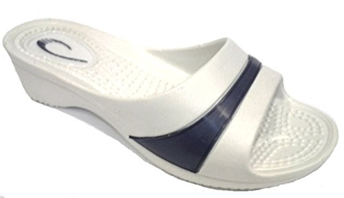 DEMA pantofole ciabatte donna in GOMMA con ZEPPA mod. ROMANA Bianco