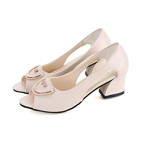 Xturfuo Women's Low Heel Pump Sandals Single Band Classic Chunky Block High Heel Sandals