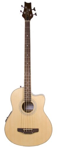 Cutaway Natural Acoustic Electric 4 String Bass with 4 EQ & DirectlyCheap(TM) Translucent Blue Medium Guitar Pick (Cutaway Bass)