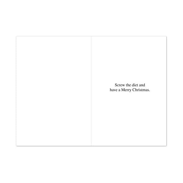 12 'Rice Cakes Boxed Christmas' Hilarious Greeting Cards 4.75 x 6.62 Inch, Merry Xmas Note Cards Featuring Funny Santa Comic with Diet Theme, Stationery w/Envelopes for Adults, Gifts, Parties B1587 31MaJPDuSGL
