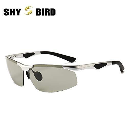 Mjia automáticamente Aluminio anteojos frame al Las Silver y Deportivas de nbsp;Sol Aire Gafas Hombre Libre Deportivas cambian Deportivos del armazón nbsp;polarizadas Los nbsp;Las Gafas Arma sunglasses de el magnesio 8Xf8r