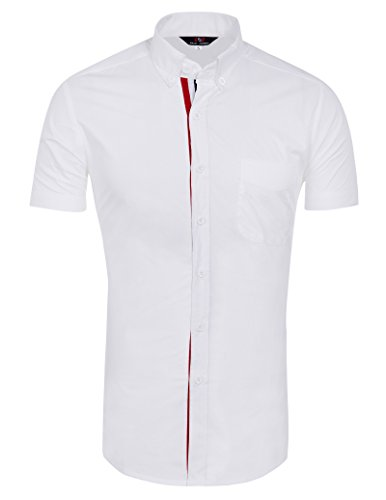 Men's Button Down Dress Shirt with Pocket (L) KL-3
