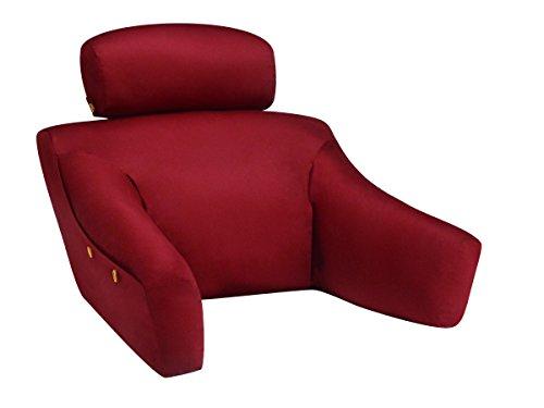(BedLounge Hypoallergenic (Regular Size, 100% Cotton Cover, Burgundy Color): The Ultimate Back Wedge, Bed Rest, Back Support, Comfort Reading)