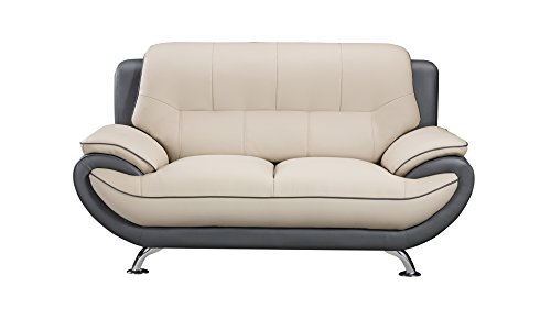 American Eagle Furniture Faux Leather Living Room Loveseat with Pillow Top Armrests, Light/Dark Gray ()