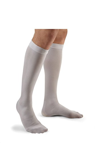 Closed Toe Stockings - Futuro Anti-Embolism Knee Length Stockings, Helps Prevent Deep Vein Thrombosis (DVT), Closed Toe, Large Regular, White, Moderate Compression