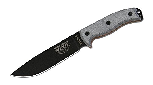 ESEE Knives 6P Fixed Blade Knife w/Molded Polymer Sheath (Black Blade/OD Green Sheath)