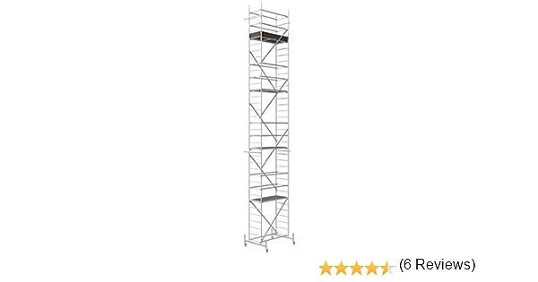 Altec Rollfix 1000, altura de trabajo 10 m, incluye ruedas, travesaño y anclaje de pared, certificado TÜV, fabricado en Alemania, estructura de aluminio móvil andamio de ruedas, andamio de construcción de interiores,