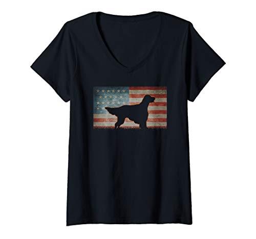 - Womens Vintage Best USA English Setter Dog Dad Ever American Flag V-Neck T-Shirt