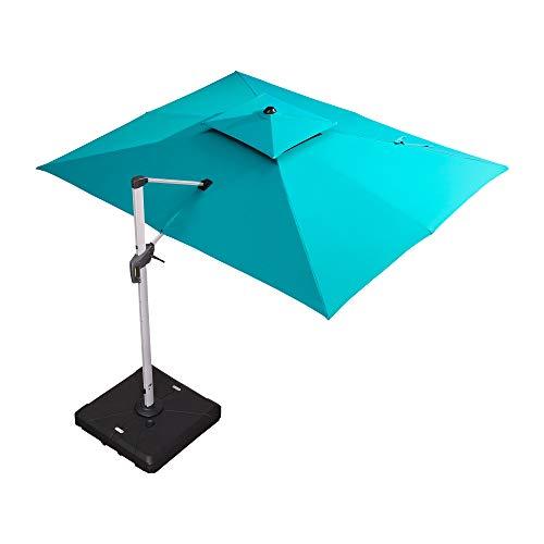 PURPLE LEAF 9′ X 12′ Double Top Deluxe Rectangle Patio Umbrella Offset Hanging Umbrella Outdoor Market Umbrella Garden Umbrella, Turquoise Blue