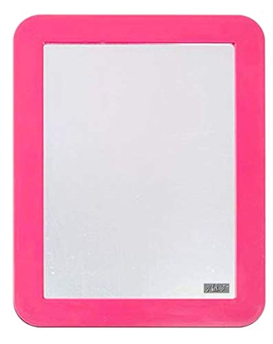 Magnetic Mirror 5 ¼ x 7- Ideal for School Locker, Bathroom, Household Refrigerator, Workshop Toolbox Or Office Cabinet - Magnetic Back Sticks to Any Ferrous Metal Surface (Pink)