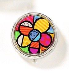 Romero Britto New Flower Pill Box W/ Mirror & ()