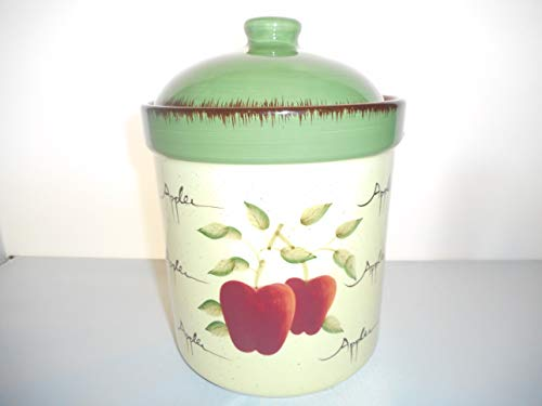 (Home Interiors Apple Orchard Collection Kitchen Canister Cookie Jar Stoneware 9 Inches Tall)
