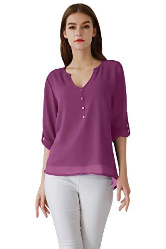 - YMING 2019 New Chiffon Top V-Neck Shirt Button Down Top Long Sleeve Shirt Purple M