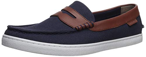 Cole Haan Men's Nantucket Loafer, Blazer Blue Textile/Chestnut Leather, 13 M US ()