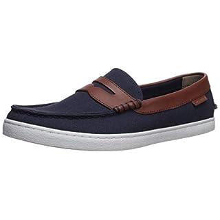 COLE HAAN Men's Nantucket Loafer, Blazer Blue Textile/Chestnut Leather, 11.5 M US