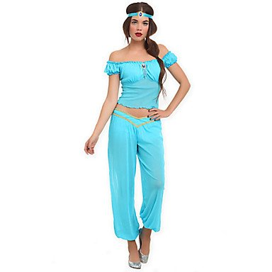 qinf princess jasmine lake blue polyester womens halloween costume