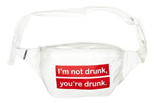 Cowbucker, Party Fanny Pack with Bottle Opener Carabiner | Not, Not Drunk White | Travel Waist Bag -