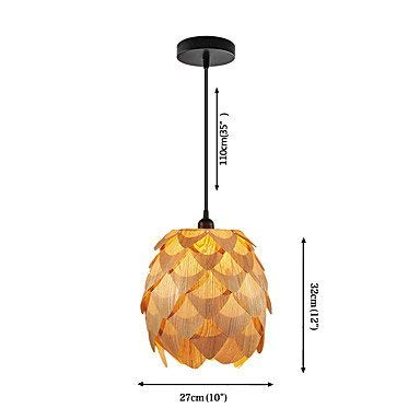 - DENG Modern Chandeliers Ceiling Lights Pendant E27 D-07M Designer Style Artichoke Layered Ceiling Pendant Light Not Included Light Bulb Wood 3C ce Fcc Rohs for Living Room Bedroom, Wood