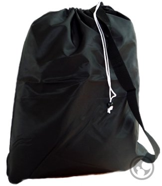 UPC 639713596519, Small Laundry Bag with Drawstring, Carry Strap, Locking Closure, Color: Black, Size: 22x28