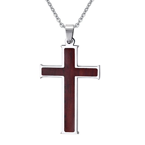 Cross Necklace Pendant for Mens Christian Jesus Lord Prayer with Chain,Silver ()