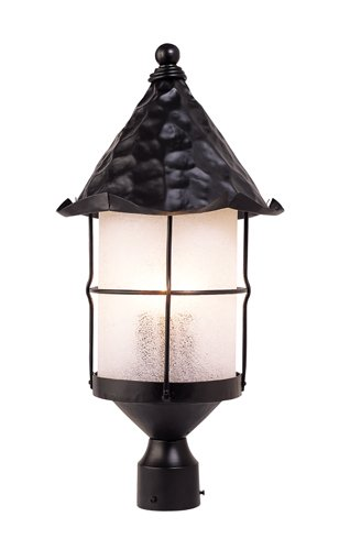 Elk 389-Bk Rustica 3-Light Outdoor Post Light 26-Inch, Matte Black With Scavo Glass - Scavo Glass Accessory