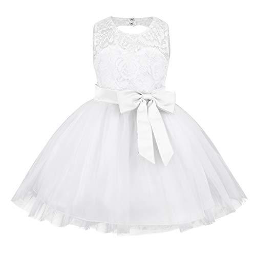 inlzdz Flower Baby Girl Dress Sleeveless Lace Heart Cutout Back Baptism Christening Tutu Dress Up White 18-24 Months ()
