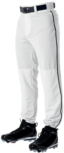 Alleson Adult Classic Style Baseball Pants With Piping - White with Black Piping - Small ()