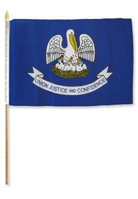(12x18 inch Louisiana flag mounted on a 24 inch (2 Foot) wooden stick staff (Super Polyester) Cloth Fabric (Sewn Edges for Durability) 12