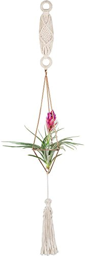 Mkono Himmeli Air Plant Holder with Chain and Macrame Hanger Mobiles Decor