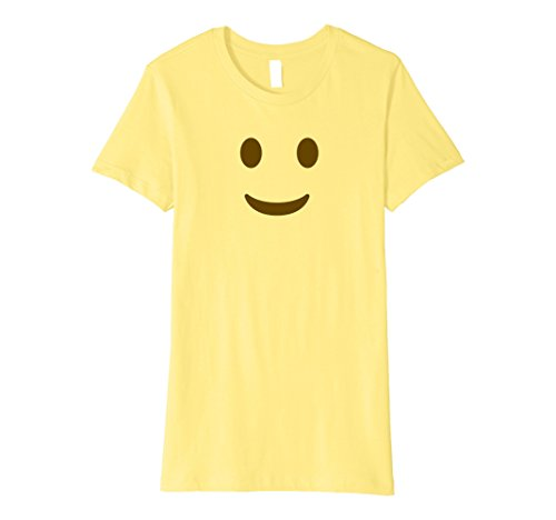 Womens Happy Emoji T-Shirt - Halloween Emoji Costume Sh Medium Lemon