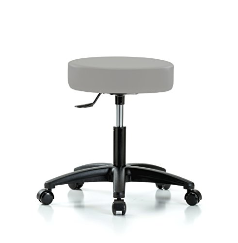PERCH Rolling Single Lever Height Adjustable Swivel Stool for Carpet or Linoleum, Desk Height, Grey Vinyl