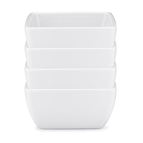 Q Squared Diamond White BPA-Free Melamine Dip Bowl, 3-1/2 Inches, Set of 4, White
