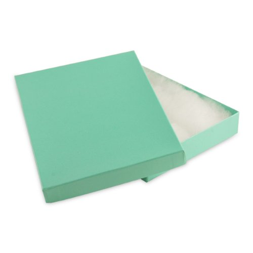 100 pcs Teal Blue Cotton Filled Jewelry Gift Boxes 7x5