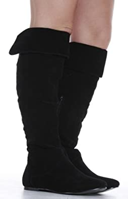 Womens Black Suede Flat Winter Ladies Over Knee High Boots Size 3 ...