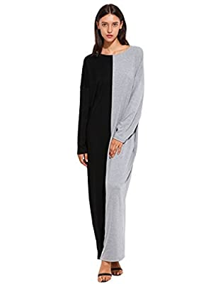 Verdusa Women's Color Block Long Sleeve Plus Size Caftan Casual Loose Maxi Dress