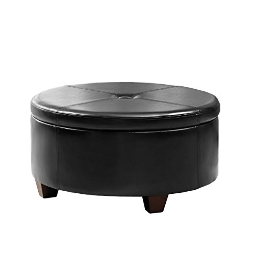 HomePop Leatherette Round Button Tufted Storage Ottoman, Black