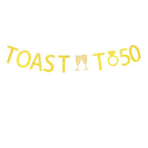 Minhero toast to 50 gold glitter banner 50th Birthday / Wedding Anniversary Party Decorations. -