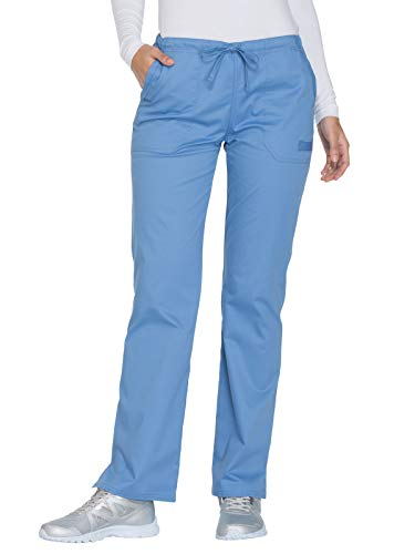 (Cherokee Workwear Core Stretch WW130 Mid Rise Drawstring Pant Ciel S Petite)