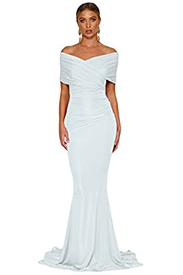 Women's White Black Red Off shoulder Mermaid Wedding Prom Evening Party Formal Long Elegant Dress Gown