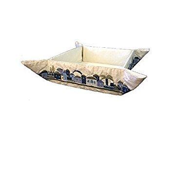 Matzah Plate for Seder Table, Embroidered Folding Basket for Matzah. Ideal for the Passover Table, Blue Jerusalem Design