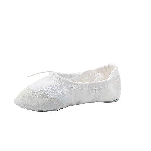 Woman's Classic Yoga Canvas Ballet Dancing Shoes,White,7 M US