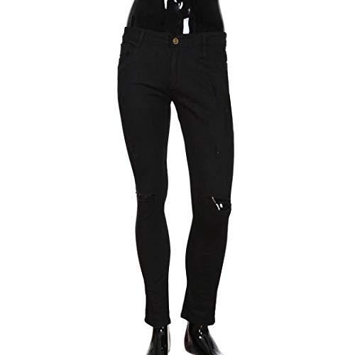 Knee Ragazzi Pantaloni Jeans Moda Denim Pants Nn Traspirante Elastico Uomo Tinta Holes Leisure Especial Slim Handsome Schen Estilo Glich Ulich Unita Nero Cher twqqUXC7