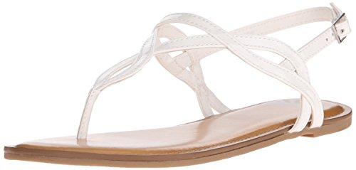 Fergalicious Women's Sunday Flat Sandal, White, 8.5 M US - Low Heel Patent Thong Sandal